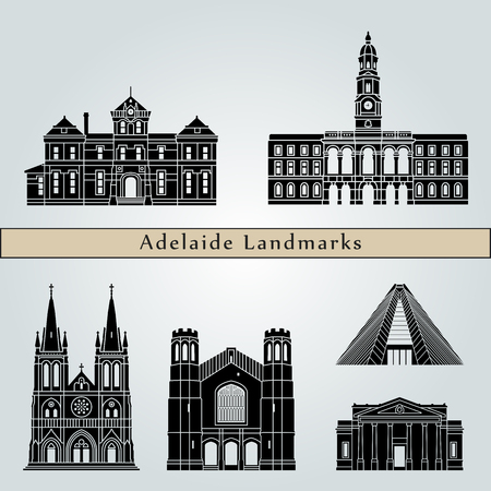 Adelaide V2 landmarks and monuments isolated on blue background in editable vector file