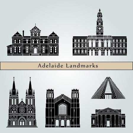 Punti di riferimento e monumenti di Adelaide V2 isolati su sfondo blu in file vettoriali modificabili