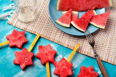 watermelon on decorated board