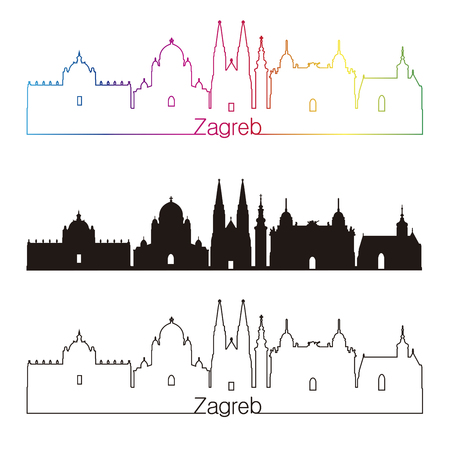 Zagreb skyline style with rainbow in editable vector file