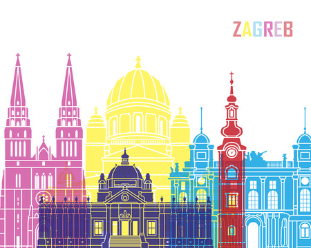 Zagreb skyline pop in editable vector