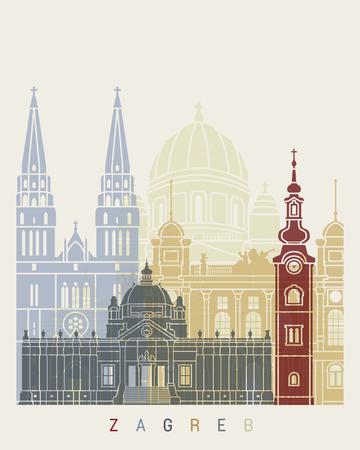 Zagreb skyline poster in editable vector 写真素材