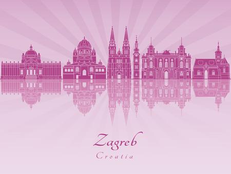 Zagreb skyline in purple radiant orchid in editable vector file