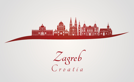 Zagreb skyline in red and gray background in editable vector file 写真素材
