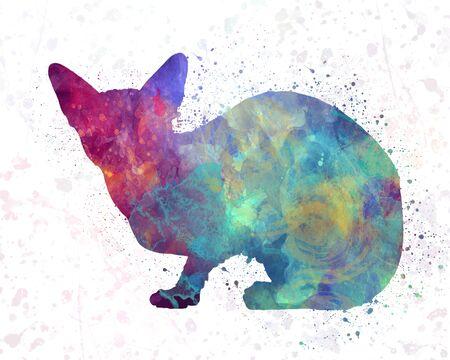 Sphinx cat  in watercolor