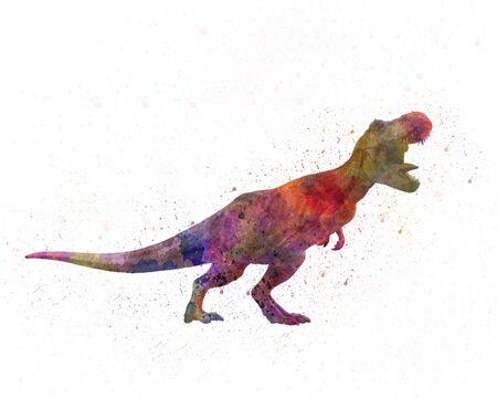 Tyrannosaurus rex dinosaur in watercolor 版權商用圖片
