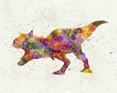 Carnotaurus dinosaur in watercolor