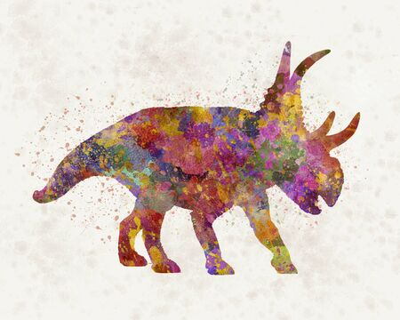 Diabloceratops dinosaur in watercolor 版權商用圖片