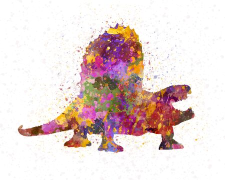Dimetrodon dinosaur in watercolor 版權商用圖片