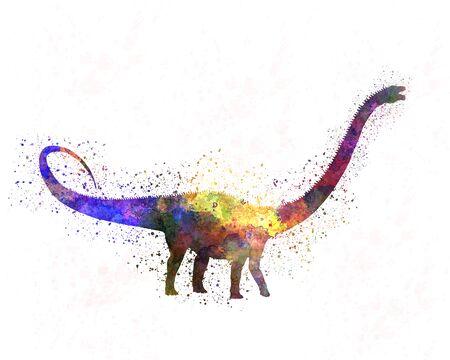 Diplodocus dinosaur in watercolor
