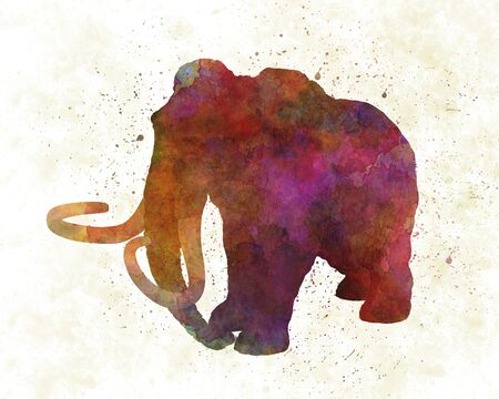 Mammoth dinosaur in watercolor 版權商用圖片
