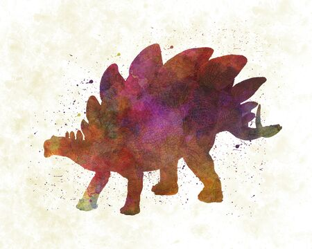 Stegosaurus dinosaur in watercolor