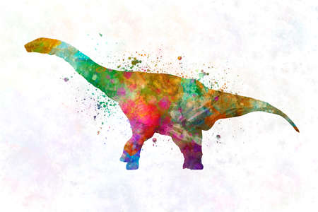 Dinosaur argentinosaurus in watercolor