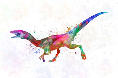 Dinosaur compsognathus in watercolor
