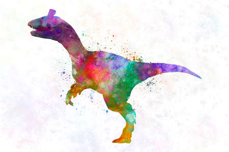dinosaur cryolophosaurus in watercolor