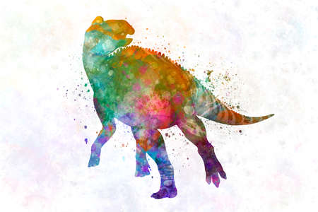 Edmontosaurus in watercolor
