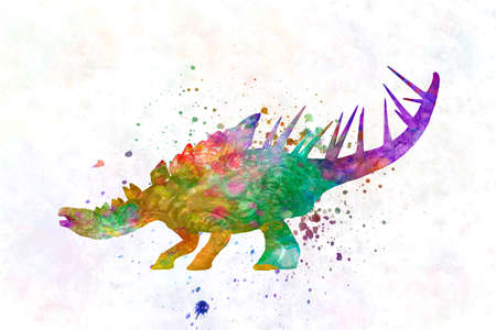 kentrosaurus dinosaur in watercolor