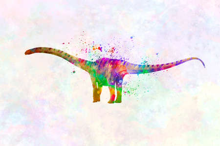 Mamenchisaurus dinosaur in watercolor