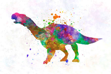 muttaburrasaurus dinosaur in watercolor