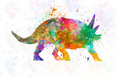 Sauropelta dinosaur in watercolor