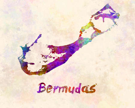 Bermuda map in watercolor Banco de Imagens