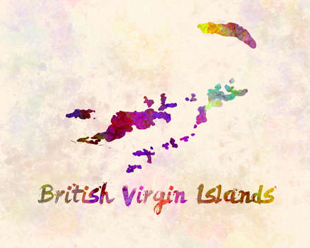 british virgin islands map in watercolor