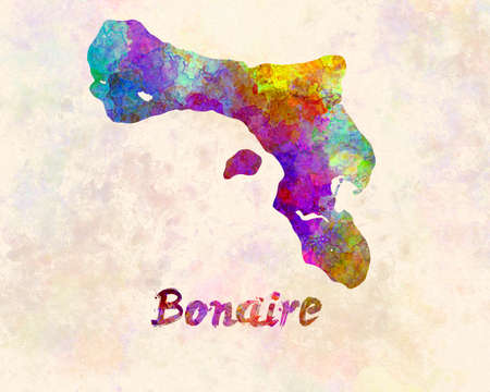 Bonaire map in watercolor Banco de Imagens