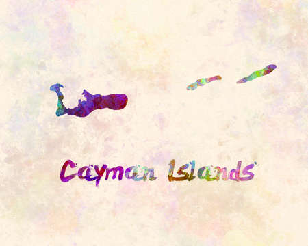 Cayman islands map in watercolor