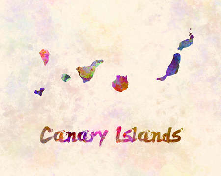 Canary islands map in watercolor