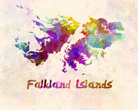 Falkland Islands map in watercolor