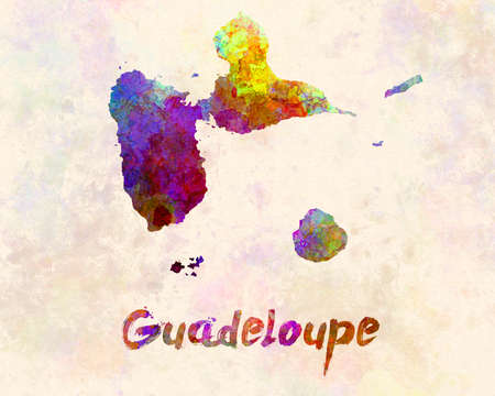 guadeloupe map in watercolor 版權商用圖片