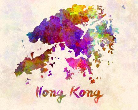 Hong kong map in watercolor 版權商用圖片