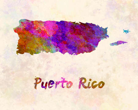 Puerto Rico map in watercolor
