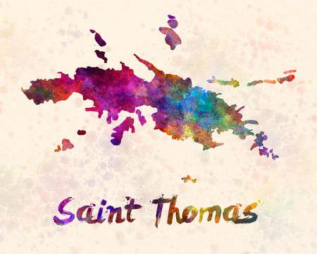 Saint thomas map in watercolor