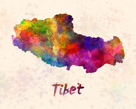 Tibet map in watercolor 版權商用圖片