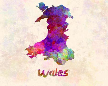 Wales map in watercolor 版權商用圖片