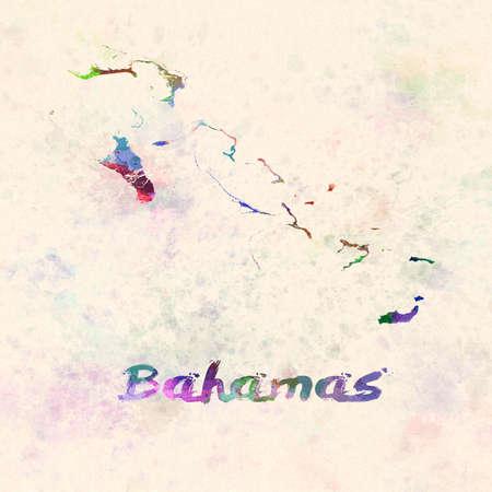 Bahamas map in watercolor