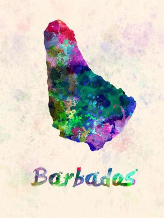 Barbados map in watercolor 版權商用圖片