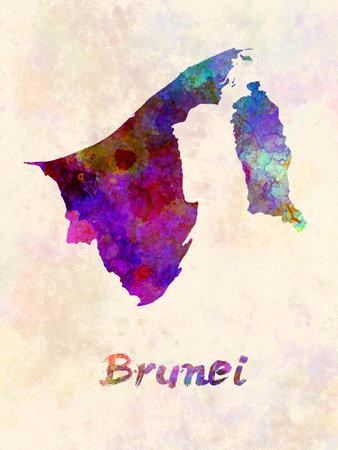 Brunei map in watercolor