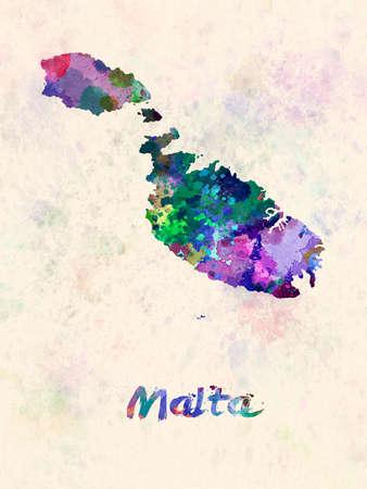 malta map in watercolor