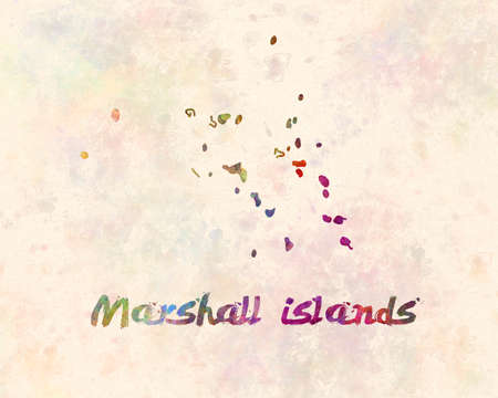 marshall islands map in watercolor