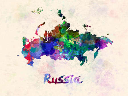 Russia map in watercolor
