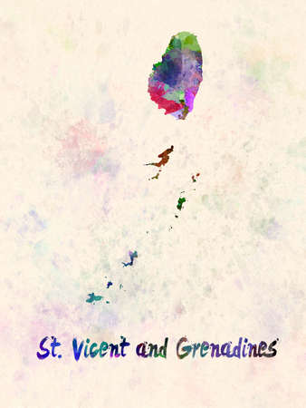St vicent and grenadines map in watercolor
