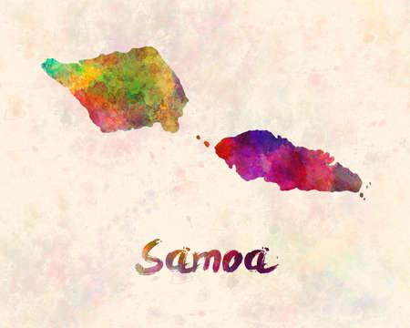 Samoa map min watercolor