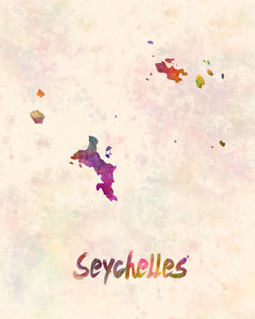 Seychelles map in watercolor