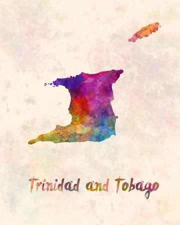 Trinidad and tobago map in watercolor