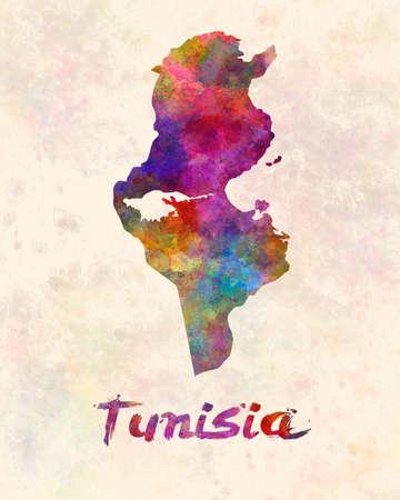 Tunisia map in watercolor 版權商用圖片