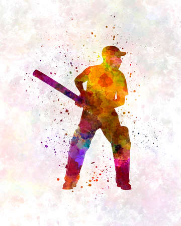Cricket player silhouette in watercolor