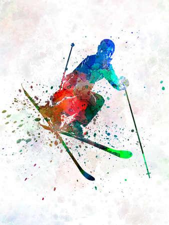 woman skier freestyler jumping