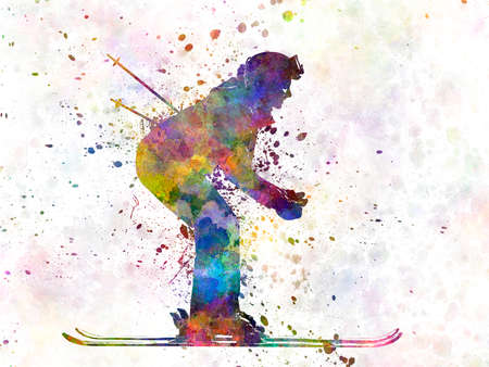 woman skier skiing 版權商用圖片